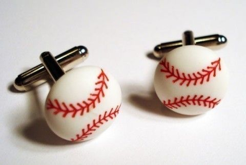 baseball silver cufflinks in gift box cufflinks groomsmen gift boxes ...