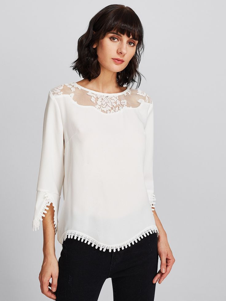 Shop Illusion Neck Lace Trim Scallop Top online. SheIn offers Illusion Neck Lace Trim Scallop Top & more to fit your fashionable needs.
