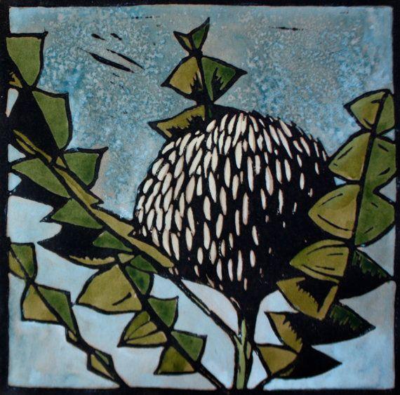 Banksia Flower Linocut Print, Hand Painted Lino Print, Australian Native Flower