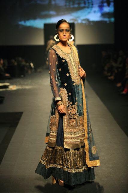 #RituKumar #Designer Black and Green #Lehenga