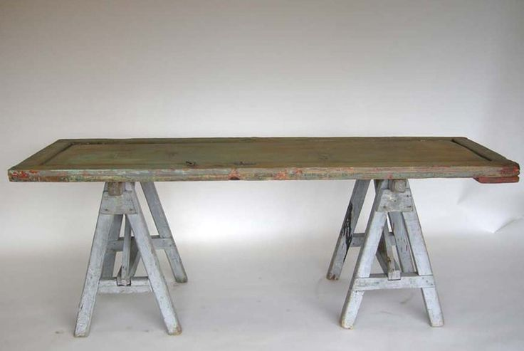 Antique Door and Saw Horse Table at 1stdibs