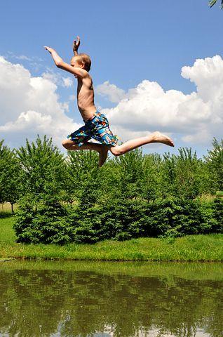 夏季, 游泳, 池塘, 景观, 奥地利, 休闲, 游泳池, 湖, 儿童