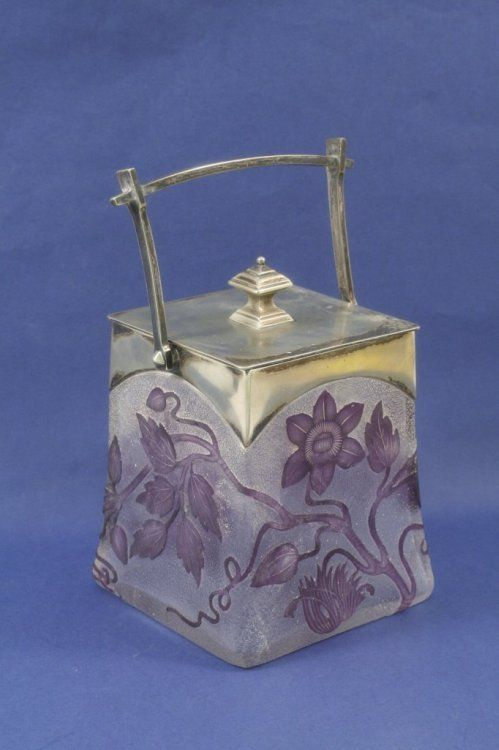 An Art Nouveau cameo glass biscuit barrel, 5.5in.