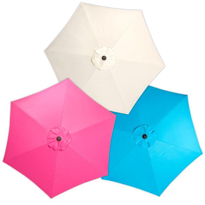 Een gekleurde parasol geeft direct een vrolijk gezicht aan je tuin, balkon of terras. Of neem 'm mee naar het strand!