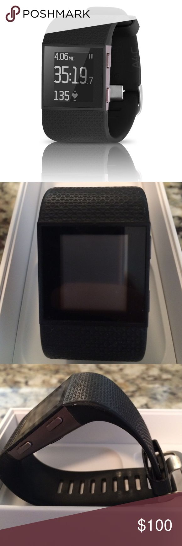 GUC Fitbit Surge smartwatch, size small, black Used less than a year in good condition. Size small with black band. GPS, built in HR, stopwatch/timer feature, alarm clock, tracks calories, steps, floors and distance. Notification such as text messages and missed calls. Syncs with most smartphones via the app. *Does not come with cable charger but they are less than $5 on Amazon* no scratches on face, minor wear to band, price firm, these retail for $250! (1st picture is a stock photo) same…