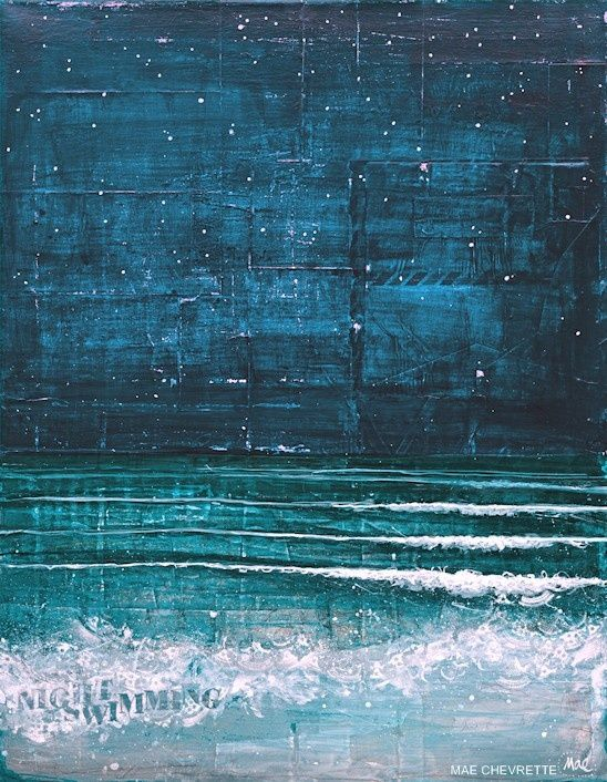 Night Swimming - 14 x 11 paper print - deep blues, turquoise, teal oceanscape, beach waves, words and collage