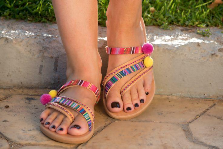 Pom pom Sandals, Boho Sandals, Decorated Sandals by PenelopesTemptations on Etsy