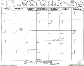 Worksheets: Create a Calendar: October, free printable