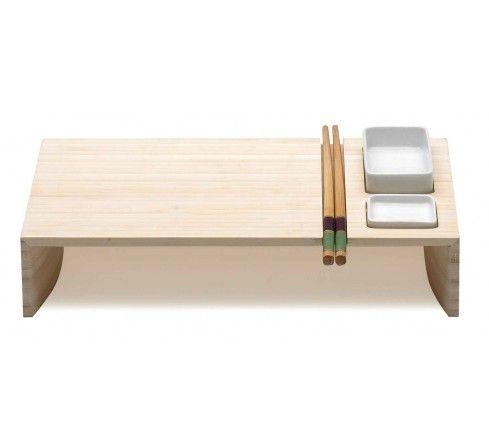 Kobe, eco-friendly bamboo sushi board, design porcelain bowl, bamboo chopsticks, Legnoart, Bjorn Blisse.