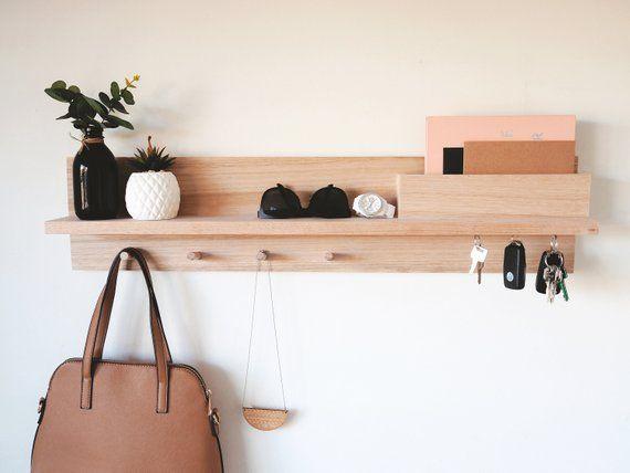 Entryway Organizer 80cm Shelf Coat Rack With Shelf Wall Mount Coat Rack Housewarming Gift Mail Holder Shelf
