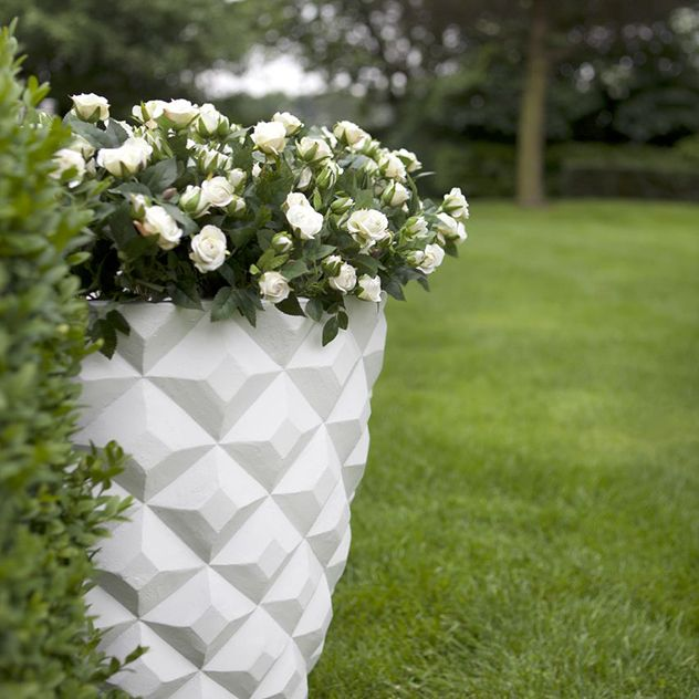 Medium White Multifaceted Planter - Planters - Outdoor - Products - Blue Sun Tree