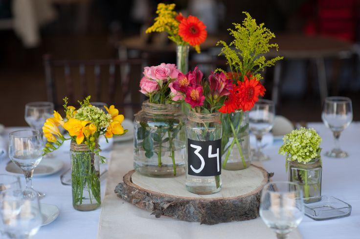 Centerpiece, wood, jars, flowers, table deco