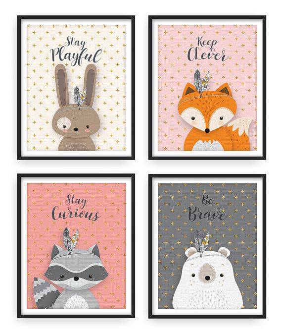Set Of 4 Woodland Nursery Forest Animal Art