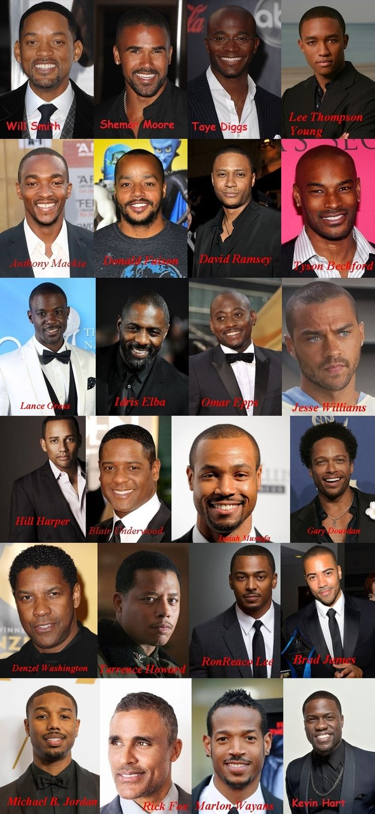 Will Smith Shemar Moore Taye Diggs Lee Thompson Young Anthony Mackie Donald Faison David Ramsey Tyson Beckford Lance Gross Idris Elba Omar Epps Jesse Williams Hill Harper Blair Underwood Isaiah Mustafa Gary Dourdan Denzel Washington Terrence Howard RonReaco Lee Brad James Michael B. Jordan Rick Fox Marlon Wayans Kevin Hart
