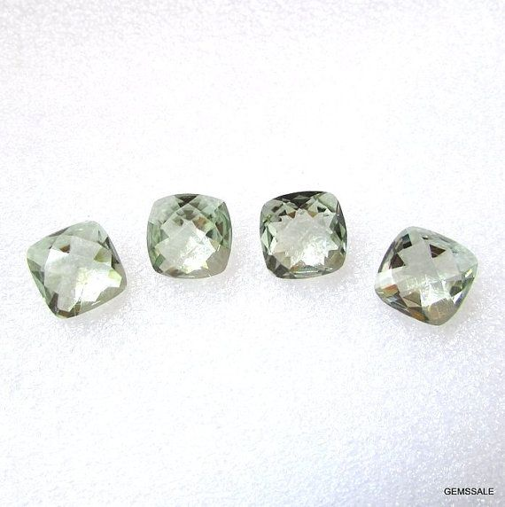 10mm Mint Green AMETHYST Cushion Checker Cut Faceted by GEMSSALE