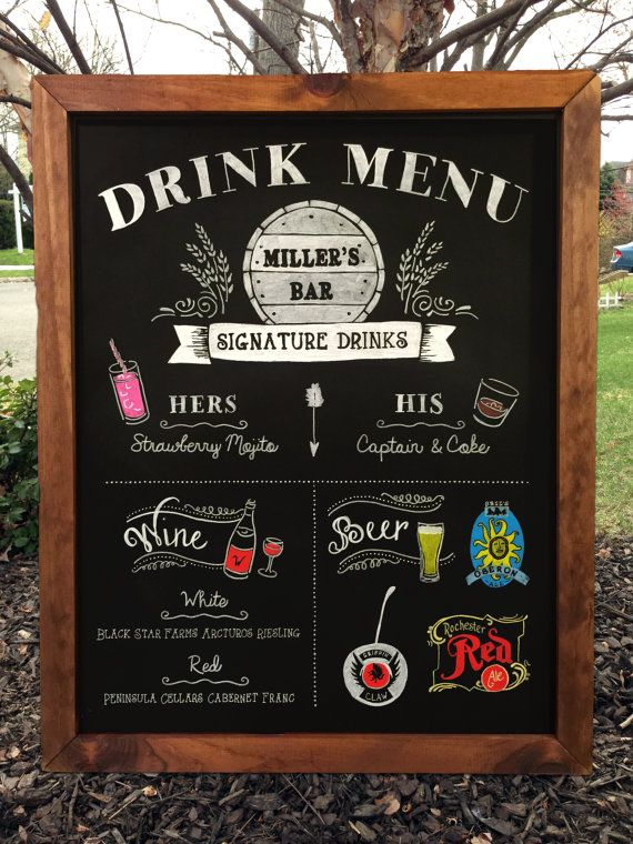 Custom 20x30 Bar Menu Chalkboard by TimberAndType on Etsy