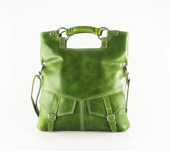 Olive green leather handbag - from etsy.com - the shop is artoncrafts
