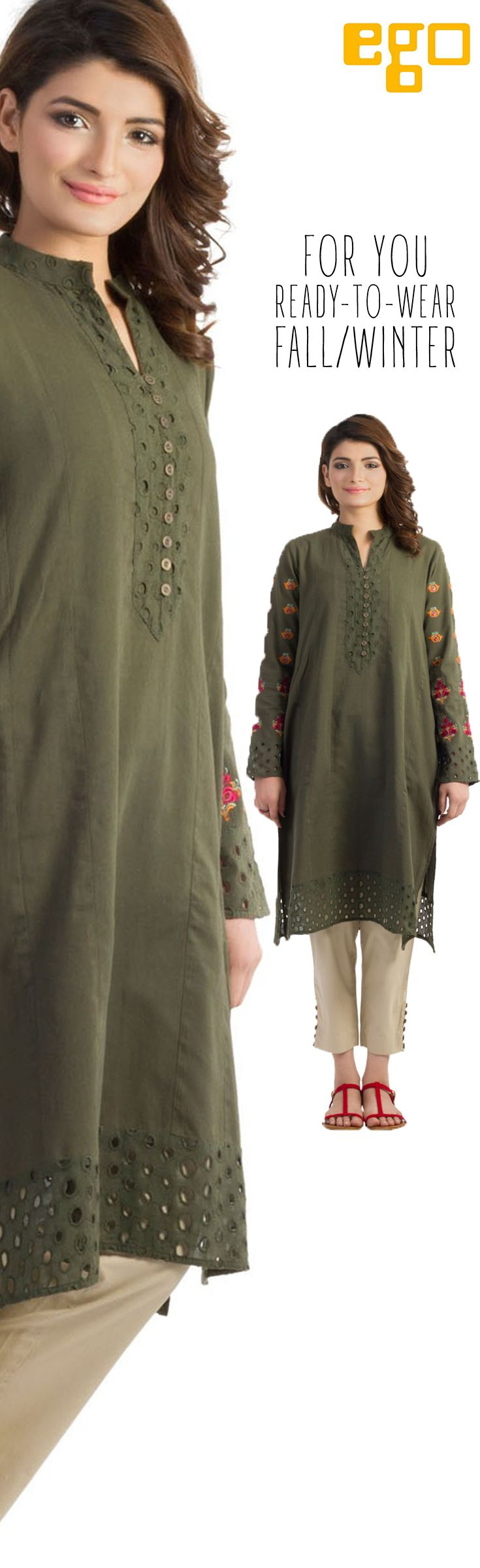 FOR YOU:  Elegant mid length kurta style with embroidery on full sleeves, Band collar with chikan placket and buttons.  Fabric: Light Weight 100% Cotton Fabric
