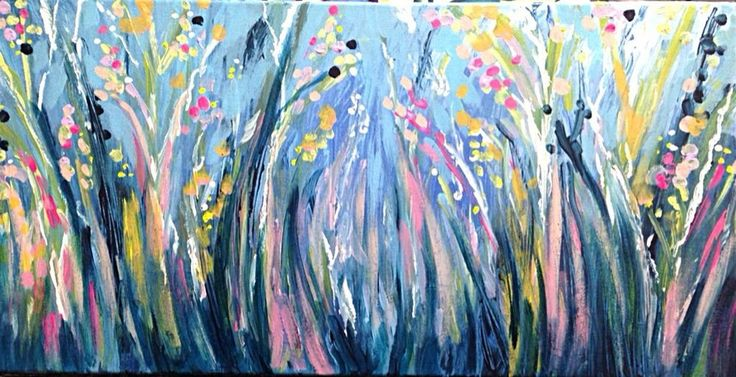 Original Semi abstract Bush Flower Landscape Painting By artist joJo spook