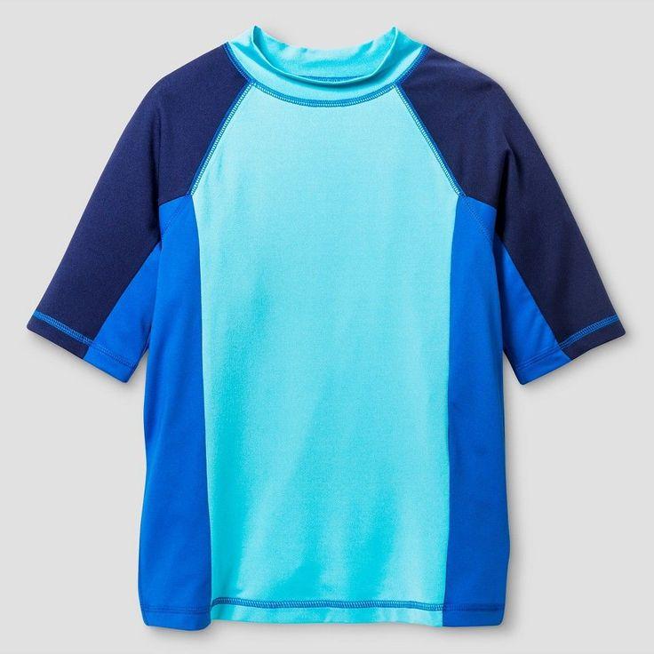 Boys' Short Sleeve Rash Guards Cat & Jack - River Blue XL