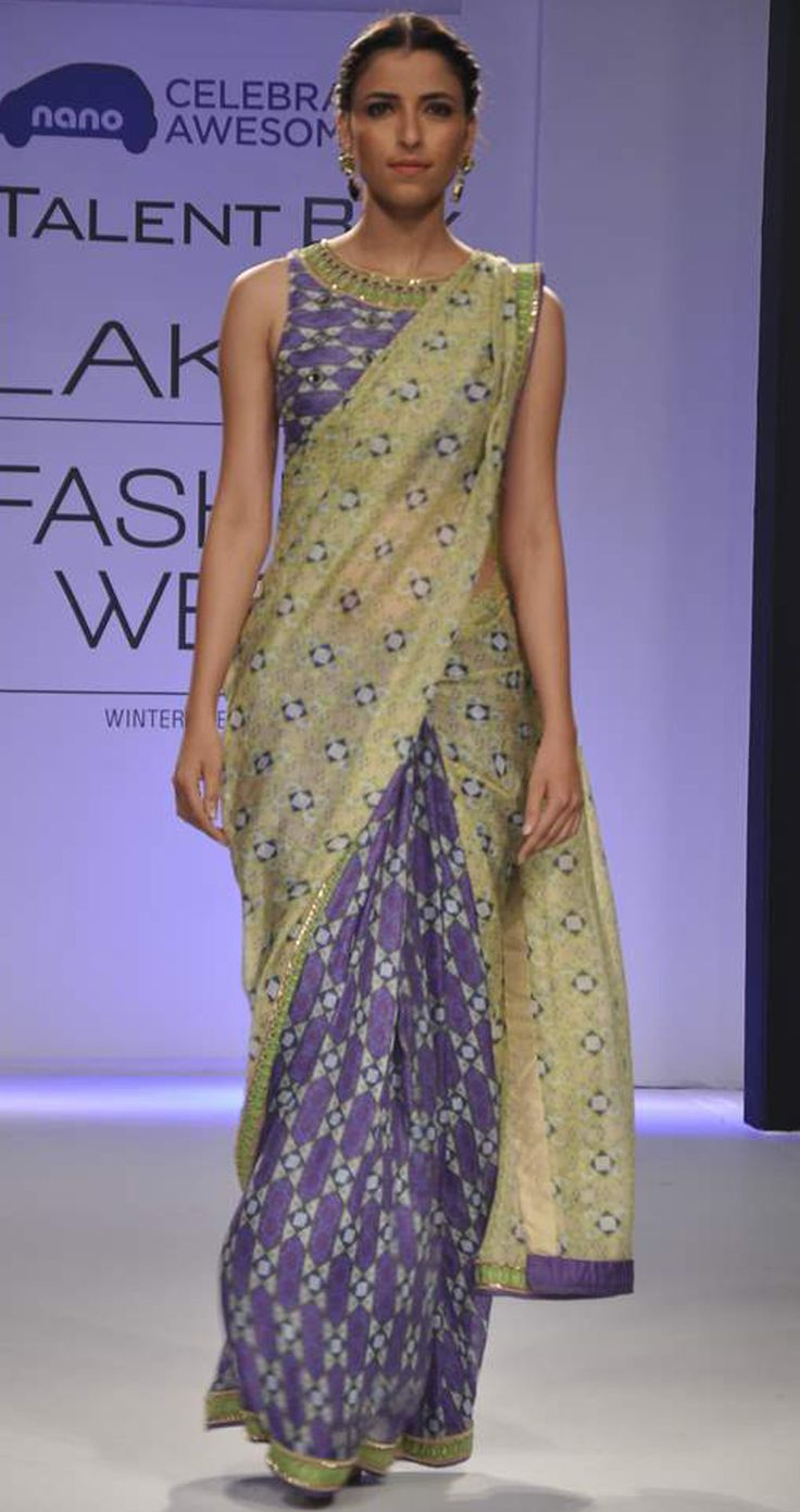 Violet and beige shaded sari by ARPITA MEHTA. Shop at http://www.perniaspopupshop.com/lakme-fashion-week/arpita-mehta/arpita-mehta-violet-and-beige-shaded-sari-aplfw081303.html