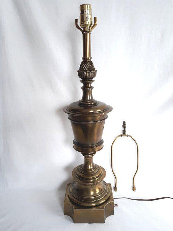 Vintage Solid Brass Stiffel Neoclassical Trophy Urn Table Lamp Pineapple Heavy 3 Way Dresser Desk Retro Lamp W Harp Fitter Retro Lamp Vintage Lamps Retro Desk