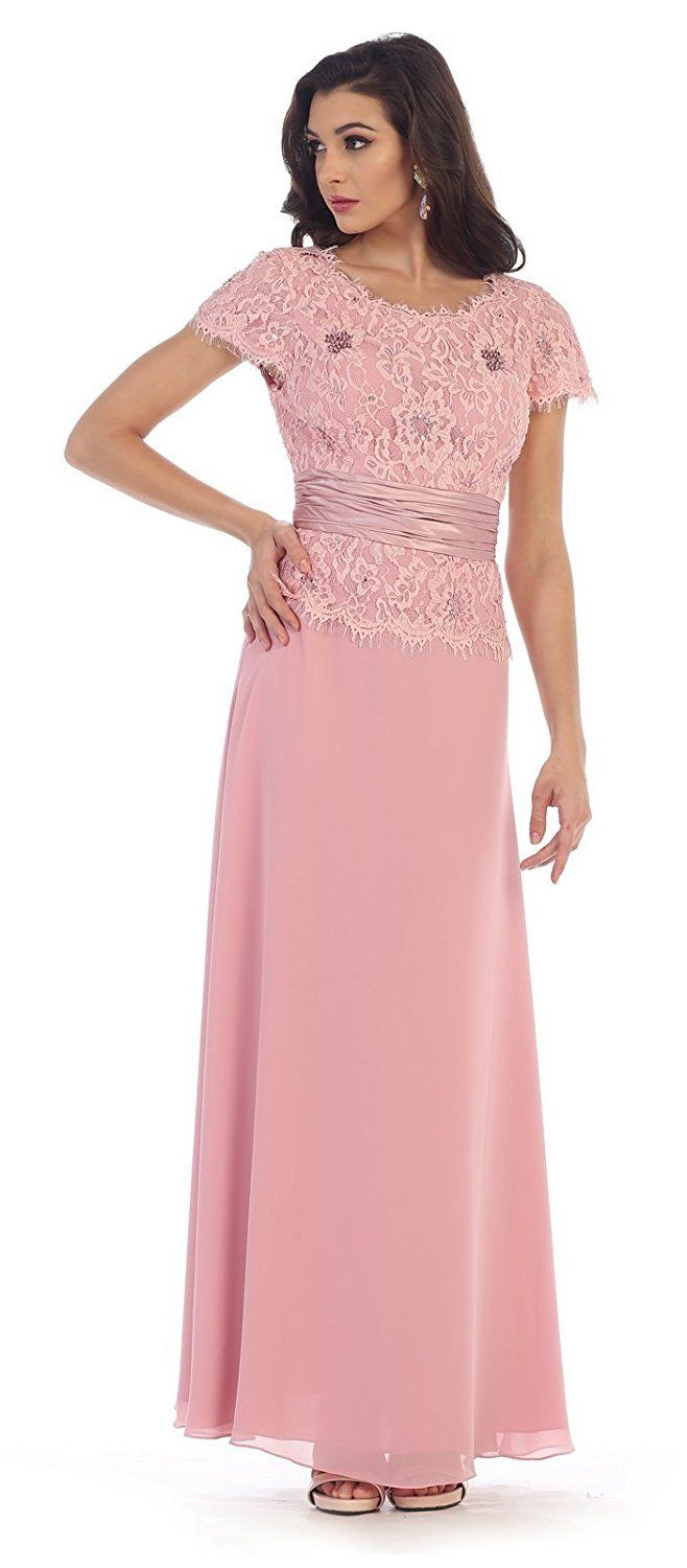 Rose coral plus size mother of the bride dresses with sleeves | Plus ...