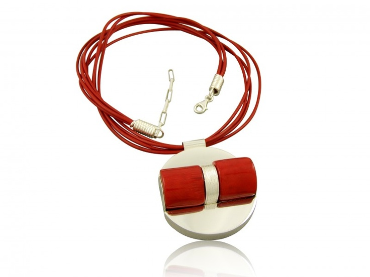 Silver handmade necklace with natural red colar