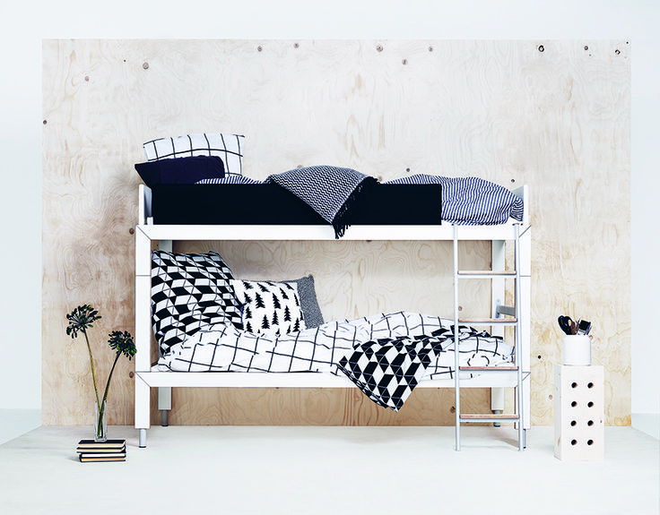 Lundia Lofty can be used as a bunkbed. In this way, you save lots of space.  Later, you can use the two beds separately, if you want.