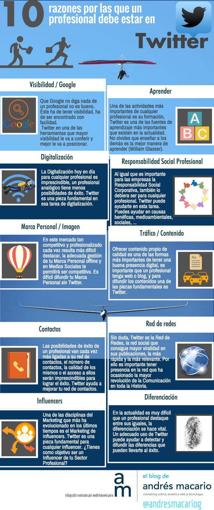 10 razones por las que un profesional debe estar en Twitter #infografia