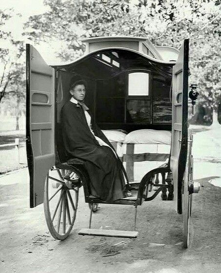 Nurse in the interior of Coast Hospital horsedrawn ambulance.Coast Hospital was established at Little Bay at southeastern Sydney in 1881.In 1934 it was re-named Prince Henry Hospital.