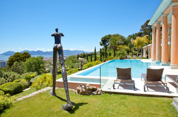 "A house on the #FrenchRiviera | ""The invention of a timeless antiquity"" from #ADItalia June 2014 The view from the pool. Interior Design #TiEffeEsse http://www.tieffeesse.com"