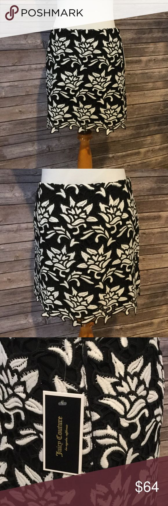 Juicy Couture Black Label Graphic Guipure Skirt 8 Juicy Couture Black Label LA graphic guipure mini skirt. Large black and white open lace print. Fully lined, hidden side zipper. Size 8. Excellent condition. Brand new with tags. Juicy Couture Skirts Mini