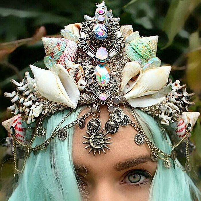 Mermaid Crowns With Real Seashells Are Taking Internet By Storm Great match for our new mermaid costumes! http://www.costumebliss.com/4577+sexy+mermaid+costumes