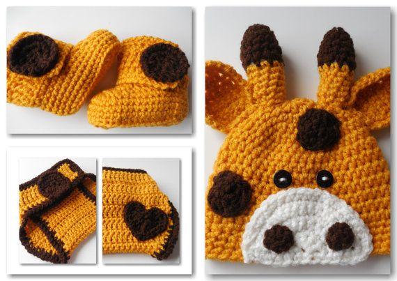 Giraffe Crochet Set Baby Beanie Diaper by ShelleysCrochetOle