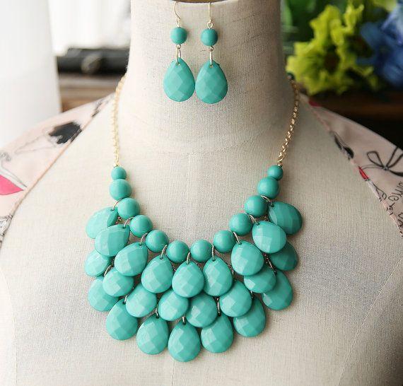 Libre de 2014 Teardrop Aqua turquoise déclaration bavoir collier boucles d'oreilles - couleur or
