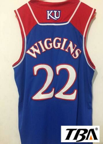 TBA baloncesto jersey Kansas Jayhawks 22 Andrew Wiggins jerseys de los hombres Baratos de alta calidad bule Aceptamos a #Affiliate