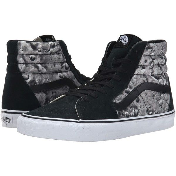 Vans SK8-Hi Black/Gray) Skate Shoes ($53) ❤ liked on Polyvore featuring shoes, sneakers, black, gray shoes, leather shoes, gray sneakers, grey leather sneakers and leather sneakers