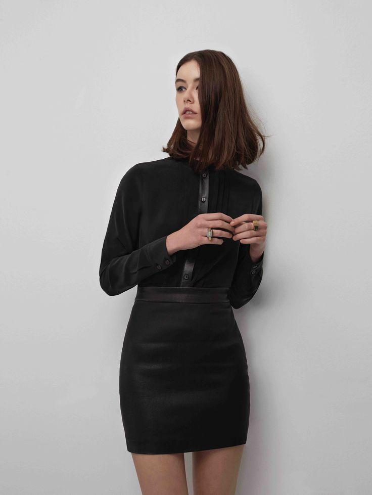 Sankt's Leather Placket Silk Shirt #FW16 #silk #leather #placket #black #shirt #minimalist #chic #urban #sankt #wearesankt