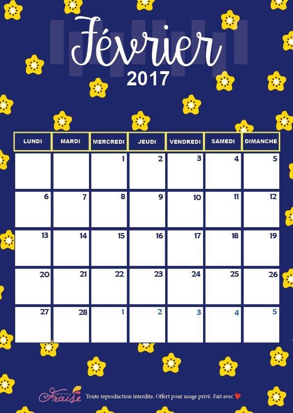 CALENDRIER DIY FÉVRIER 2017 (free printable)