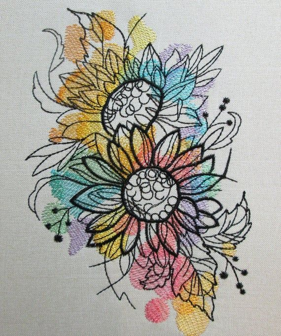Sunflower machine embroidery designs, Sunflower embroidery, flowers design, floral pattern  5*7, 6*8