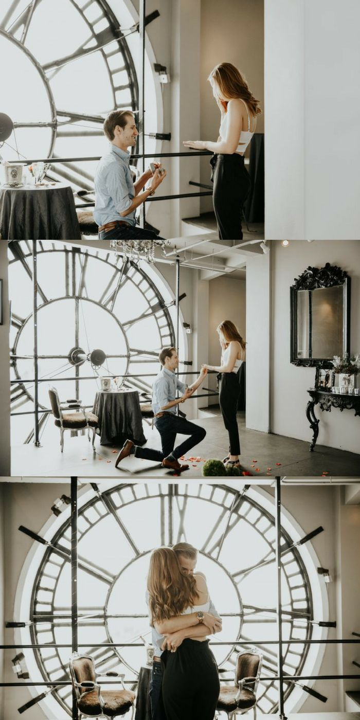 He proposed inside a clock tower, and it's so romantic. <3