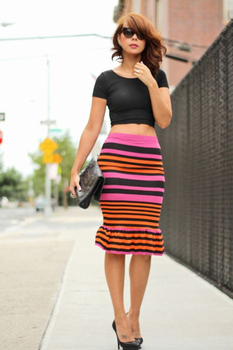 I like the shape and style of this skirt. Not so much into the horizontal stripes though. This skirt in red would be lovely.