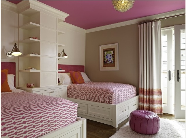 """color scheme. The use of the brighter paint on the ceiling is so smart, as is the built in nightstand and shelves. I think this would solve a great deal of problems when there is more than one child in a room, you know what I mean, """"no, it's my side!"""" """"It's not your side, ever!""""."""