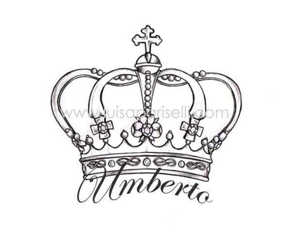 Black Outline Queen Crown Tattoo Design