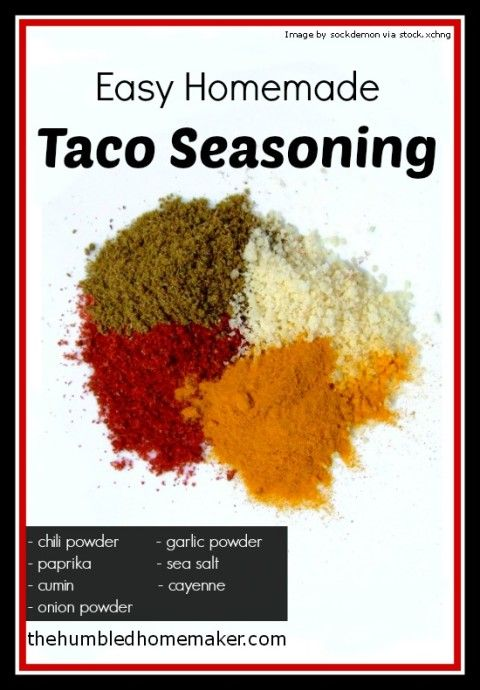Homemade Taco Seasoning - makes enough for 1lb of meat with spices already in the house