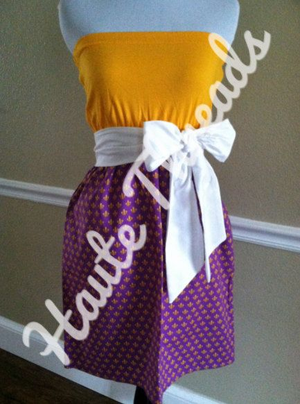LSU Purple & Yellow Gold TIGERS Gameday by hautethreadsboutique, $65.00