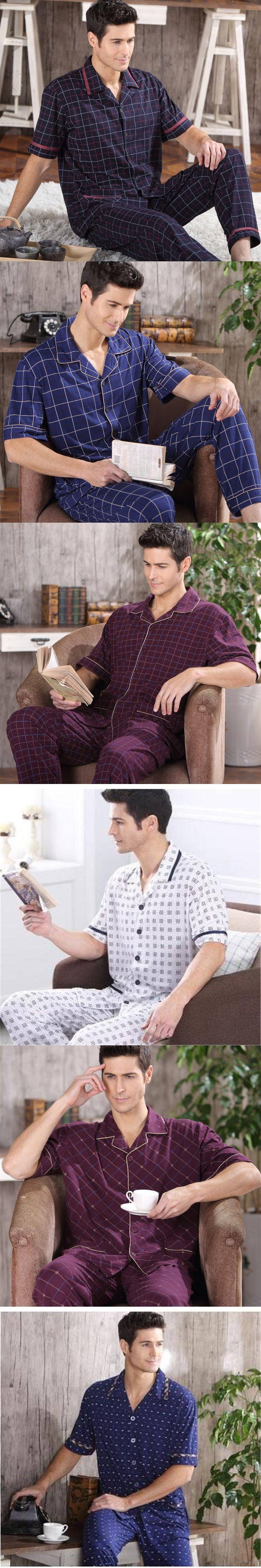 2017 NEW Cotton Pajamas Set For Men Short Sleeve Trousers Sleepwear Pyjamas Men Lounge Pajama Set Plus size M-5XL