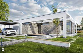 PARTEROWY 2 - nowoczesny dom z płaskim dachem - Małe parterowe domy pasywne murowane, styl nowoczesny - zdjęcie od DOMY Z WIZJĄ -…