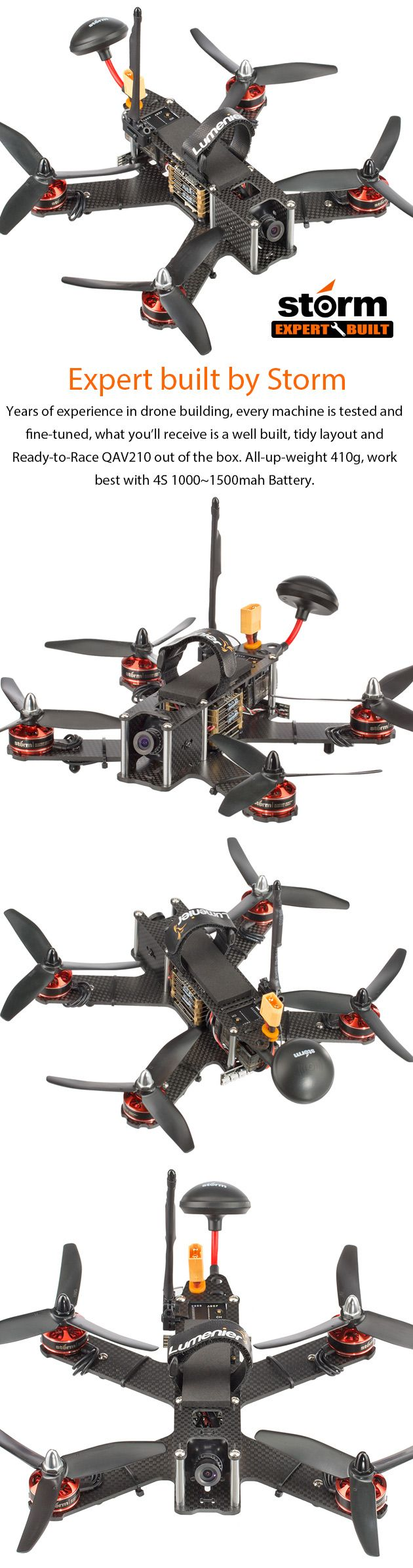 STORM Racing Drone (RTF / Lumenier QAV210 Storm Edition) http://www.helipal.com/storm-racing-drone-rtf-lumenier-qav210-storm-edition.html